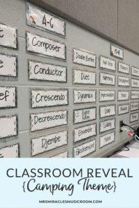 Music Classroom Reveal: Ideas for decorating your music room with a camping theme!