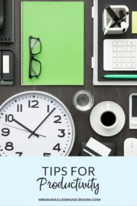 Tips for being more productive as an elementary music educator, including how to best long-range plan, apps for productivity, and more!