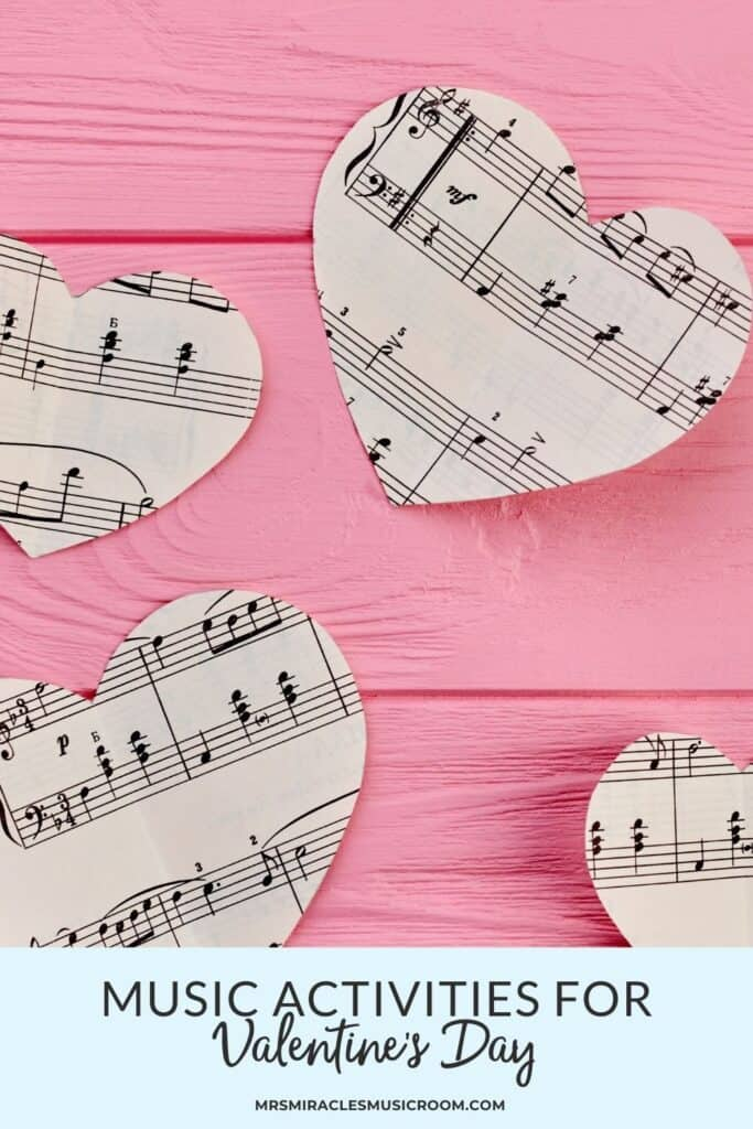Picture of music hearts on pick background