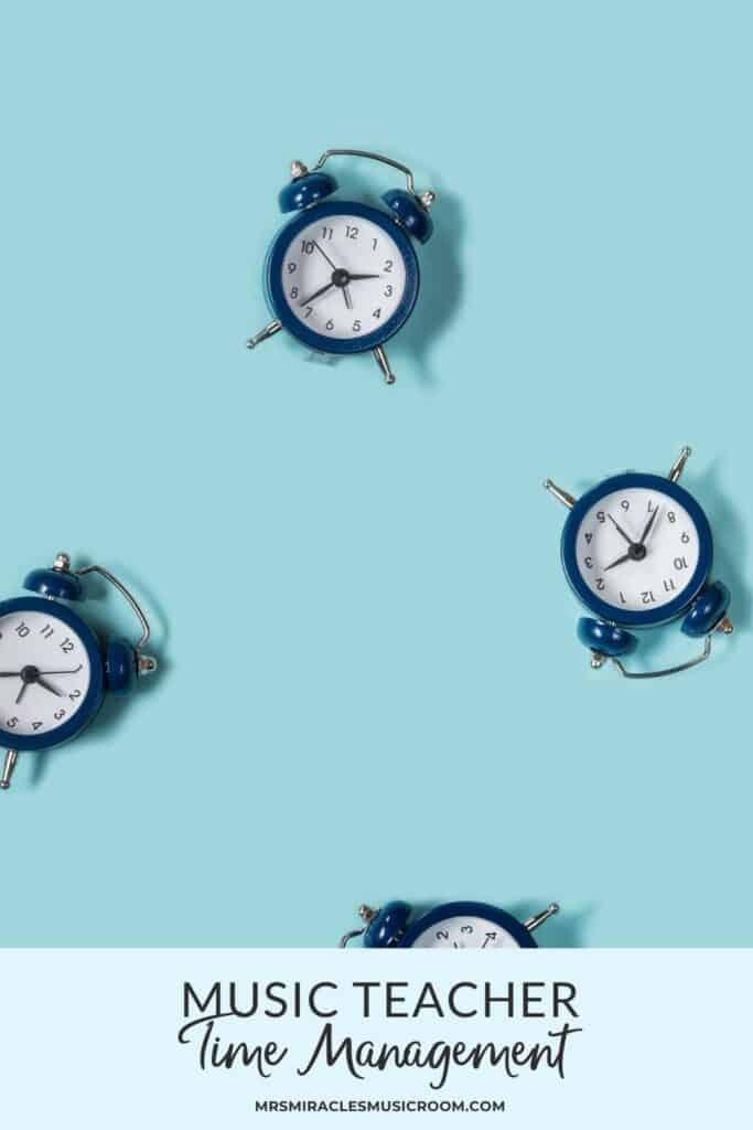 Alarm clocks on blue background