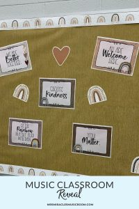 "Boho rainbow themed bulletin board, with the text, ""Music Classroom Reveal"""