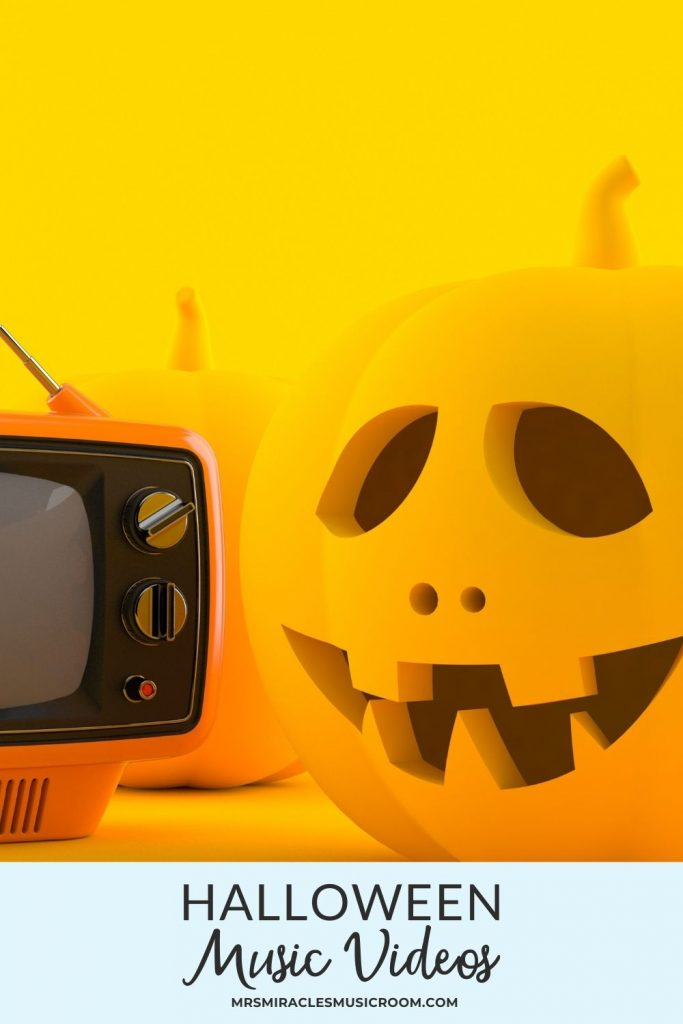 """Jack o' lantern with a TV, with the text, """"Halloween Videos for the Music Room"""""""