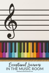 """Colorful piano with a treble clef above it, with the text """"Exceptional Learners in the Music Room"""""""